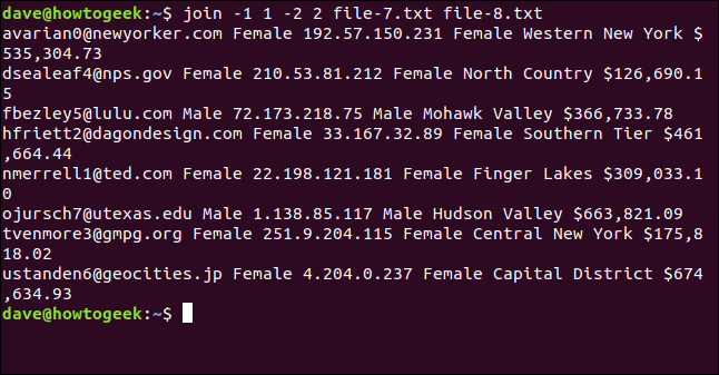 "The ""join -1 1 -2 2 file-7.txt file-8.txt"" command in a terminal window."