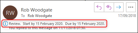 An email with the Follow Up information tip highlighted.