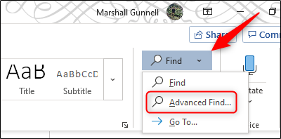 Advanced Find option