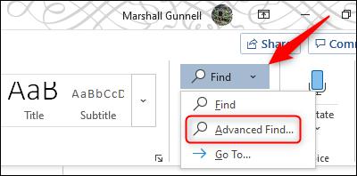 Advanced Find option