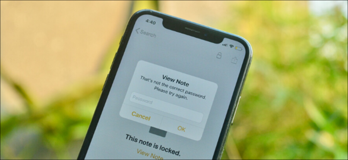Apple Notes showing password is wrong prompt for a locked note