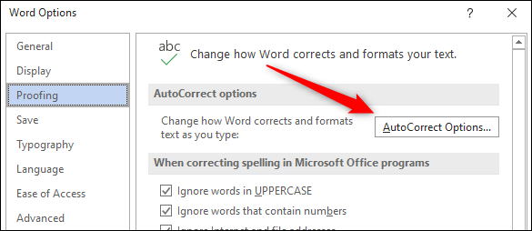 AutoCorrect options button in the Proofing tab