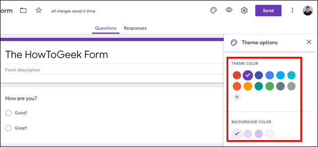 Select Background Color Google Forms