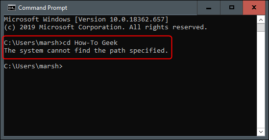 """The System Cannot Find the Path Specified"" error message in Command Prompt."