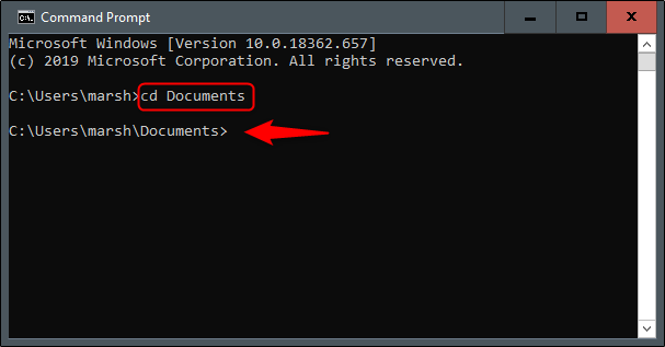 "The ""cd Documents"" command in Command Prompt."