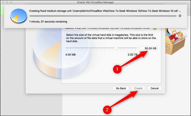 """Choose a size for the virtual hard disk, and then click """"Create."""""""