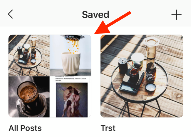 Choose a collection from the Saved menu