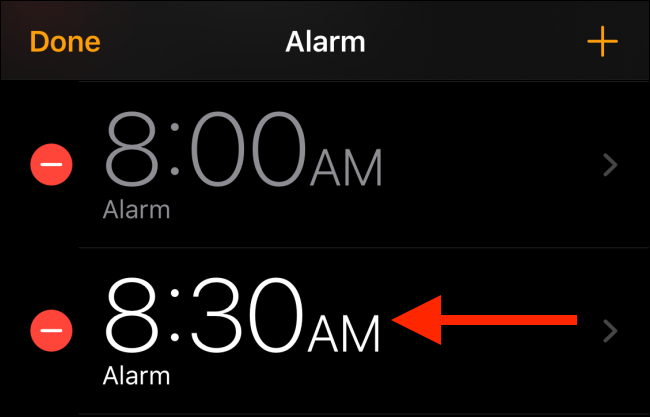 Choose the alarm you want to customize