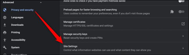 Chrome Site Settings Settings