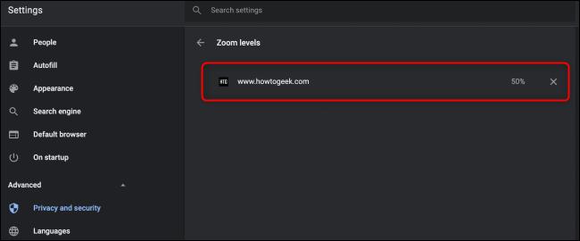 Chrome Zoom Settings