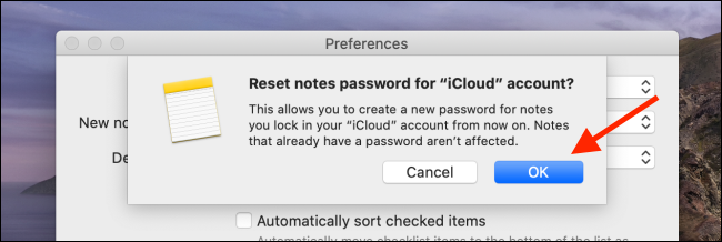 Click OK from the Reset Password option on Mac