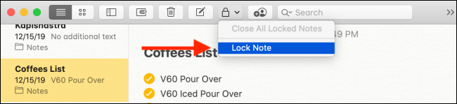 Click the Lock Note button