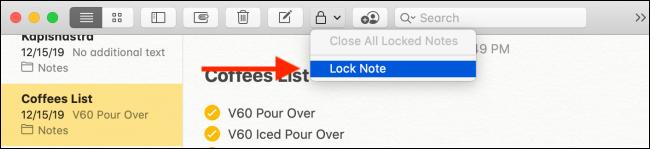 Click the Lock Note button
