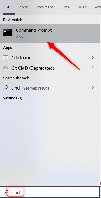 "Click ""Command Prompt"" in the Windows 10 search results."