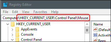 the Control panel mouse folder in regedit