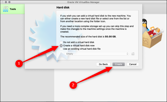 "Select ""Create a Virtual Hard Disk Now,"" and then click ""Create."""