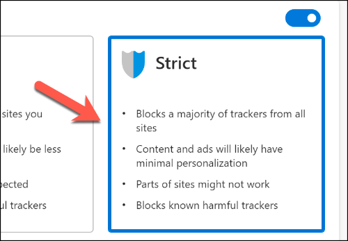 "Click the ""Strict"" option block."