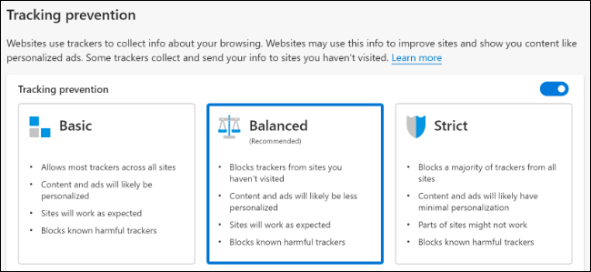 "The ""Tracking Prevention"" options in Microsoft Edge."