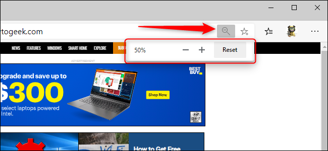 Edge Zoom Setting in Address Bar