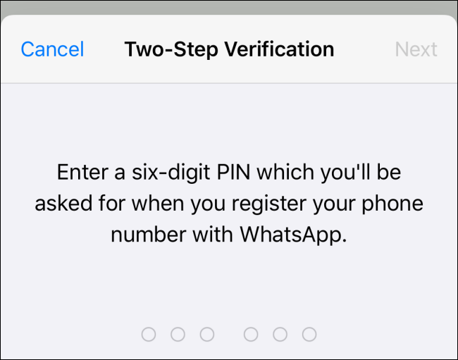 "Type a six digit pin and tap ""Next."""