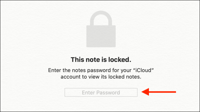 Enter the Apple Notes password and then press Enter