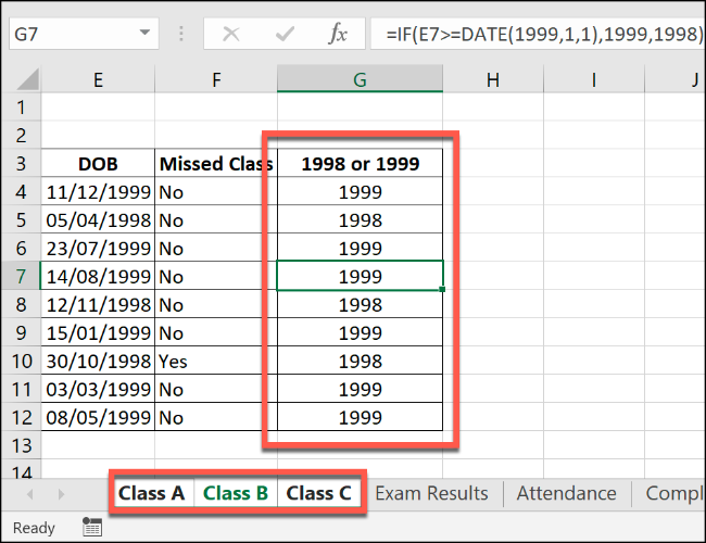An Excel IF formula, applied to multiple grouped worksheets.