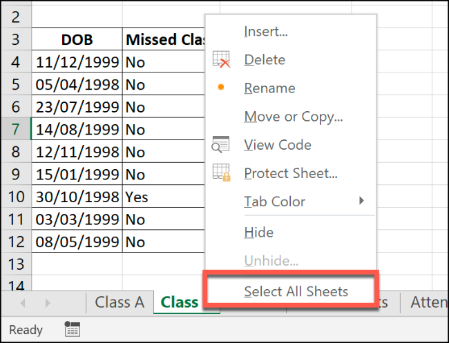 "Click ""Select All Sheets."""