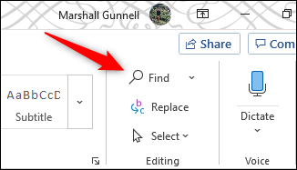 Find option in editing group