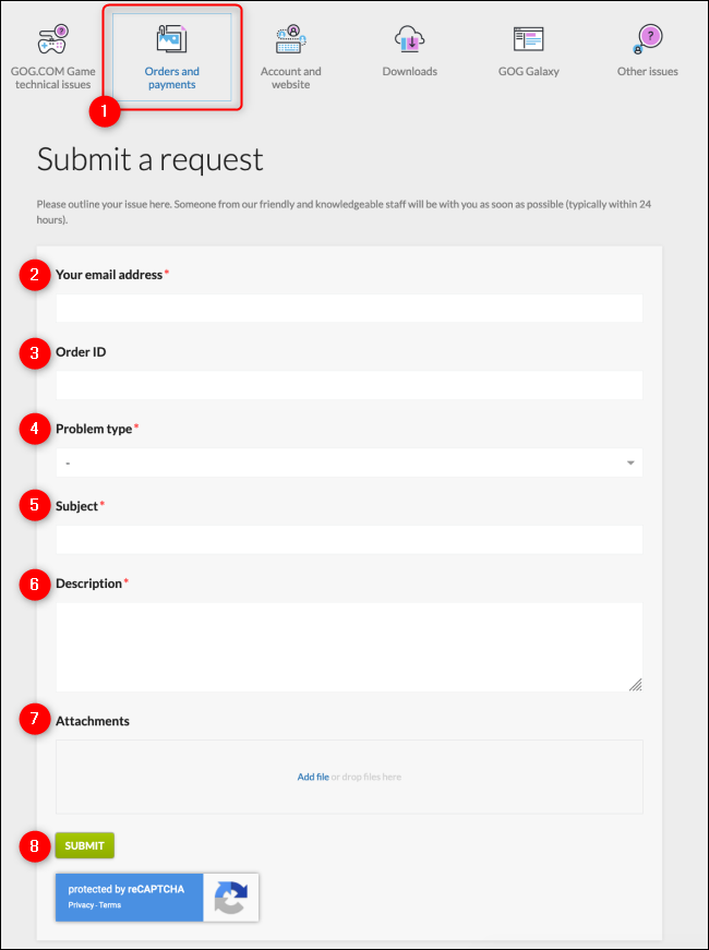 GOG Refund Request Form