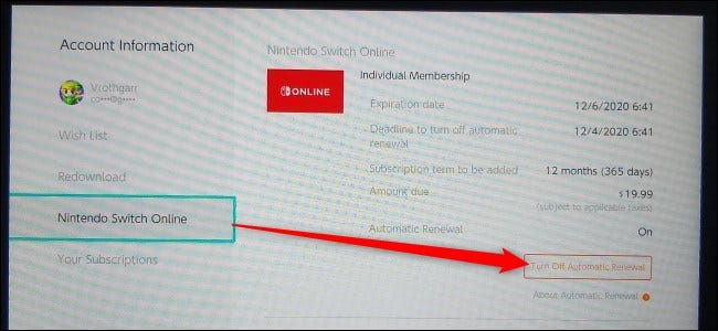 Turn Off Automatic Renewal (Switch)
