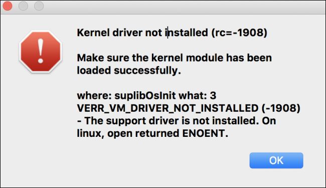 Kernel Driver Not Installed (rc=-1908) error