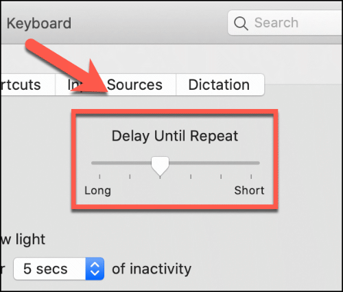 Move the Delay Until Repeat slider up and down to impact the Mac keyboard repeat delay
