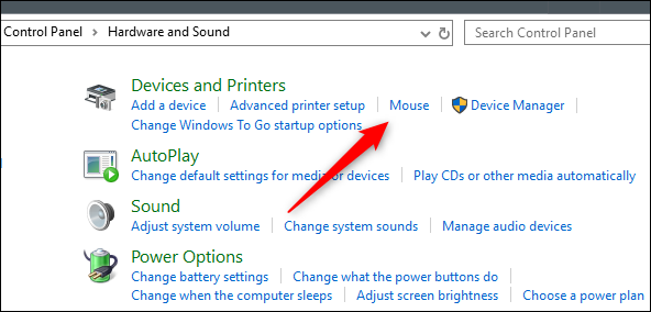 Mouse option in Devices and Printers group