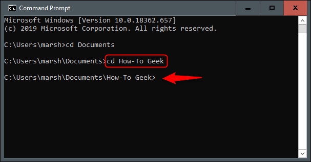 "The ""cd How-To Geek"" command in Command Prompt."
