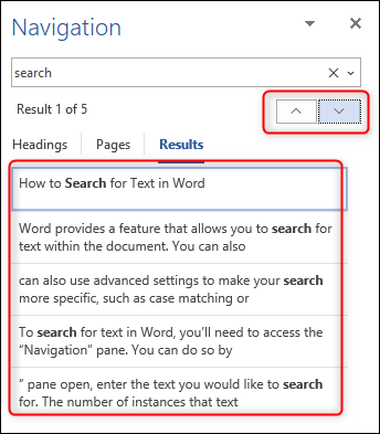 Navigating the search results