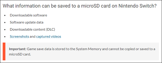 Nintendo Switch What Can Be Saved to SD Card