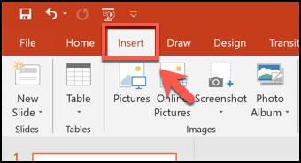 Haga clic en la pestaña Insertar en PowerPoint