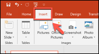 Click the Insert tab in PowerPoint