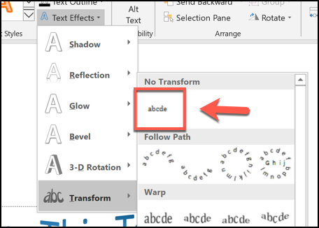 You can remove a curved text effect by clicking Format > Text Effects > Transform and clicking the No Transform option