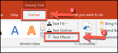 Click Format > Text Effects to begin curving text in PowerPoint