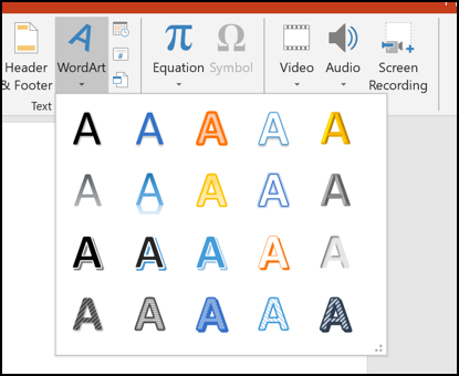 Various WordArt options in PowerPoint