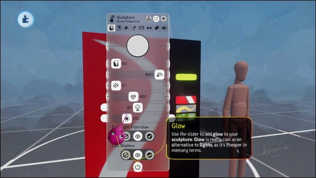 "The ""Sculpture"" menu in ""Dreamscaping"" mode."