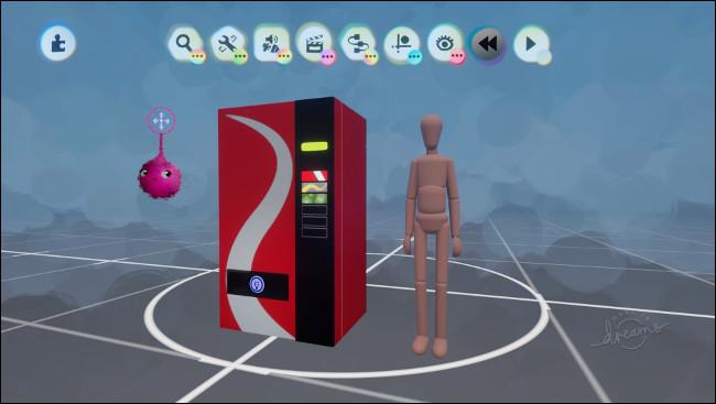 """Una máquina expendedora junto a la forma de una persona en modo """"Dreamscaping""""."""