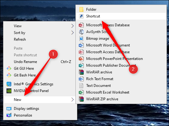 """Hover over """"New,"""" and then click """"Shortcut."""""""