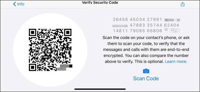 "The ""Verify Security Code"" menu in WhatsApp."