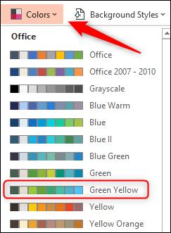 Select Green Yellow color scheme