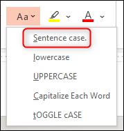 Select the Sentence Case option