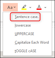 Select the Sentence Case option