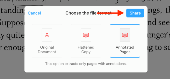 Select the format and then tap on the Share button