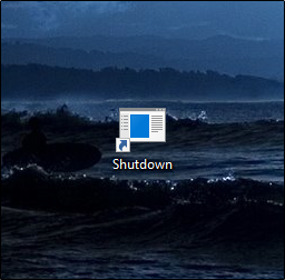 A Shutdown icon on a desktop.